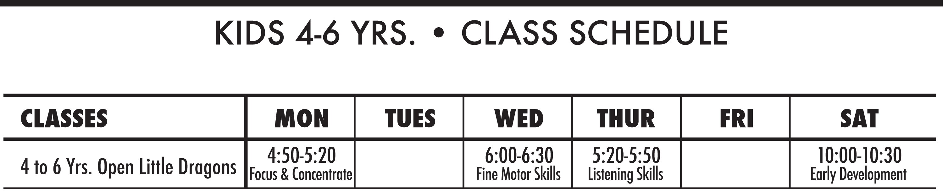 Kids' Schedule at Don Warrener's Martial Arts Academy