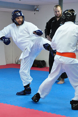 Adults sparring